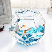玻璃魚缸 斗魚缸 熱帶魚缸 孔雀魚鳳尾魚缸  辦公桌面小魚缸igo 茱莉亞嚴選