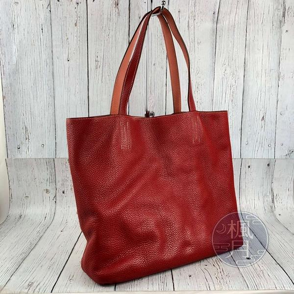 BRAND楓月 HERMES 愛馬仕 P刻 紅色 雙色 粉橘色 皮革 DOUBLE SENS 托特包 手提包
