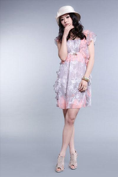 夏裝新款女裝淑女甜美時尚花色短袖雪紡連衣裙