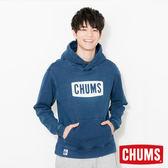 CHUMS 日本 男 LOGO 兜帽套頭衫 帽T Indigo丹寧 CH001097N030
