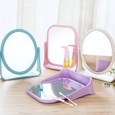 小麥簡約雙面旋轉化妝鏡 方形鏡子 圓形鏡子 雙面鏡子 桌面化妝鏡 大鏡面 公主鏡 美妝鏡