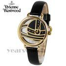 【萬年鐘錶】 Vivienne Westwood  英國 鏤空造型皮革腕錶  金色  33mm  VV076GDBK
