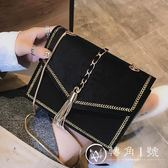 chic鏈條小包包女2018新款時尚絲絨流蘇小方包韓版百搭單肩斜挎包