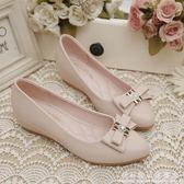 豆豆鞋女春款韓版百搭尖頭內增高厚底楔形低跟尖頭中跟單鞋女 科炫數位
