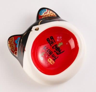 *KING WANG*開運大吉貓碗可愛寵物防滑陶瓷碗招財開運 【C-B518黃/C-B516黑】