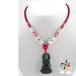 白衣觀音(七彩玉)中國結項鍊【十方佛教文物】