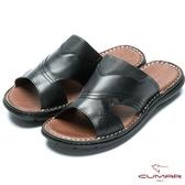 CUMAR 舒適真皮 簡單大方氣墊涼拖鞋-黑色