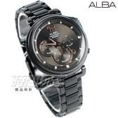 ALBA雅柏錶 廣告款 由我表態 三眼錶 計時碼錶 不銹鋼 IP黑電鍍 防水錶 男錶 AT3E05X1 VD53-X302SD