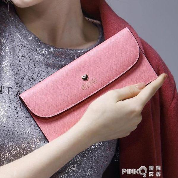 KIMO 新款歐美時尚潮流愛心印花薄款翻蓋牛皮女士長款錢包錢夾  【PINKQ】