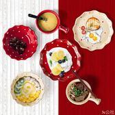 波點碗北歐盤子日式碗碟簡約情侶陶瓷餐具套裝家用可愛好看的碗盤