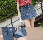 《BA5779-》造型口袋排釦高含棉牛仔抽鬚短褲裙 OB嚴選