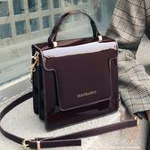 手提包 INS超火包包女新款韓版手提時尚漆皮百搭錬條單肩斜背小方包 完美情人