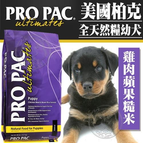 【zoo寵物商城】(送刮刮卡*1張) 美國ProPac柏克》幼犬雞肉糙米蘋果成長聰明配方28磅12.7kg/包
