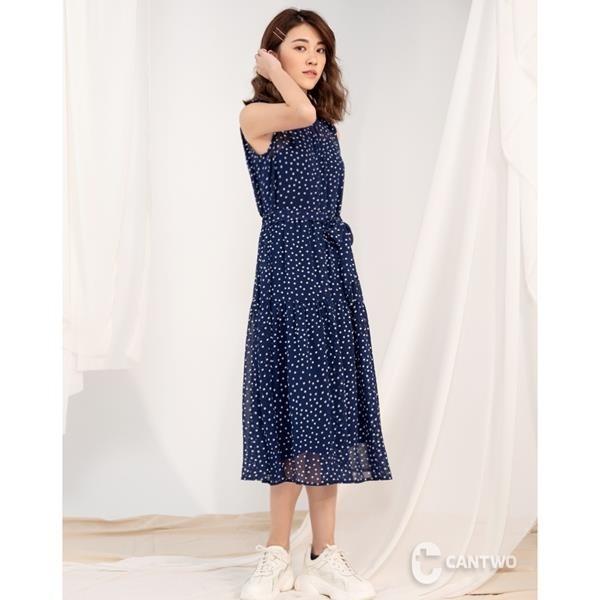 【南紡購物中心】CANTWO氣質二件式立領圓點綁帶洋裝(共二色)