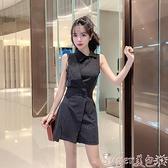 連體褲 2021夏裝新款氣質時尚無袖西裝領工裝連體褲女雪紡高腰闊腿短褲潮