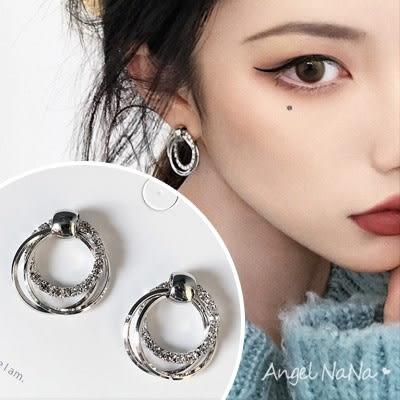 銀針耳環《可改耳夾式》簡約鋯石雙層圈圈S925銀針防過敏耳針 (SRA0131) AngelNaNa