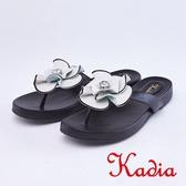 kadia.輕熟魅力 真皮花朵夾腳拖鞋(9104-90白黑色)