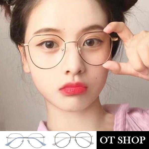 OT SHOP眼鏡框‧韓系時尚不規則眼鏡框架網紅街拍平光眼鏡‧金屬鏡架顯小臉‧現貨兩色‧U104