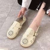 娃娃鞋牛筋軟底豆豆鞋女春新款圓頭鏤空平底學生可愛娃娃鞋淺口單鞋 衣間迷你屋