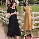 孕婦洋裝 孕婦過膝長裙夏天裙子長款冰絲時尚T恤針織潮媽夏裝連身裙女寬鬆-芭蕾朵朵