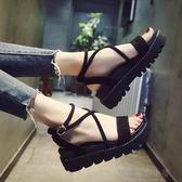 涼鞋-涼鞋女夏新款韓版厚底松糕涼鞋交叉綁帶羅馬坡跟平底學生鞋子 好再來小屋