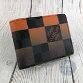 BRAND楓月 LOUIS VUITTON LV 路易威登 MULTIPLE 橘色 漸層 棋盤 短夾 錢包 男士