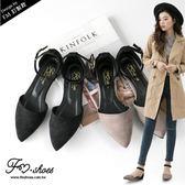 包鞋.微浪漫絨質尖頭踝帶平底包鞋-FM時尚美鞋-訂製款.firefly