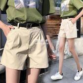 韓版寬鬆高腰西裝休閒百搭學生四分闊腿a字褲子  伊莎公主