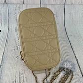 BRAND楓月 Christian Dior 迪奧 杏色手機袋兩用包 手提包 肩背包 側背包 斜背包 鍊包 藤格紋 羊皮