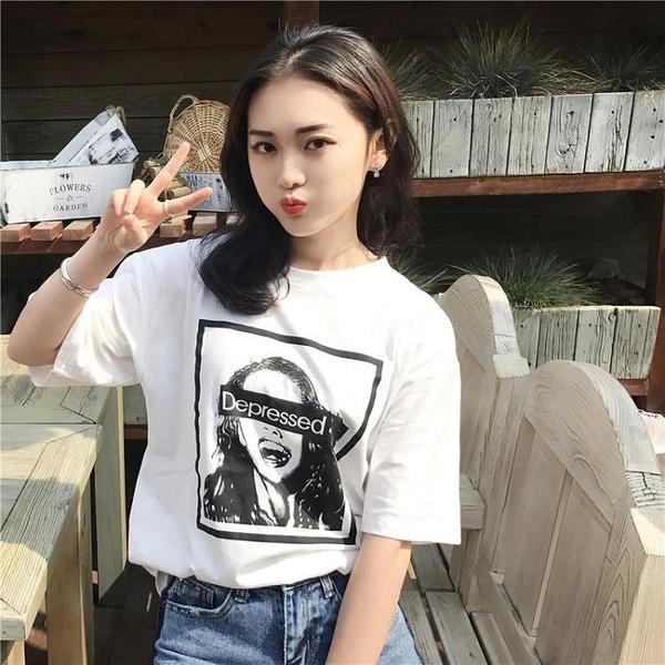 [超豐國際]春夏人物印花圓領短袖T恤女寬松顯瘦百搭打底衫上衣1入