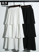 半身裙鈺莎層層蛋糕裙半身裙女春夏裙子韓版雪紡白色百摺中長裙
