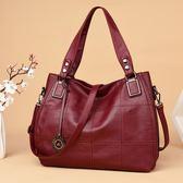 時尚中年女包大包百搭單肩側背包手提大容量軟皮媽媽包包