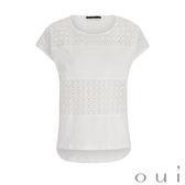 oui 白色蕾絲短袖上衣(中大尺碼)