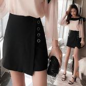 夏季黑色半身裙a字裙高腰顯瘦不規則包臀裙半裙女短裙28456(現貨)紅粉佳人