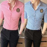 襯衫男短袖韓版修身薄款潮男中袖襯衣發型師七分袖寸衫藍白   蓓娜衣都
