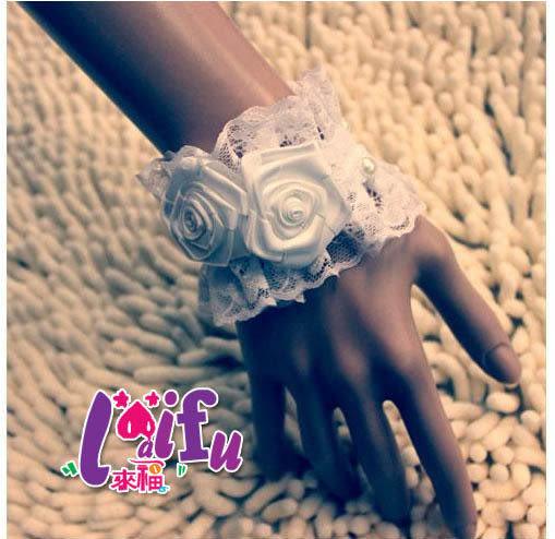 ★草魚妹★F102手工蕾絲玫瑰珍珠新娘伴娘禮服手鏈婚禮腕飾手腕花,直購180元,