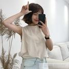 春夏女裝新款韓版百搭簡約純色背心無袖T恤學生寬鬆打底衫上衣潮 韓慕精品
