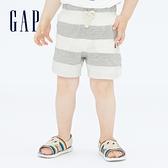Gap嬰兒 布萊納系列 純棉條紋透氣短褲 709329-白色條紋