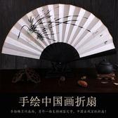 扇子手工繪畫宣紙折扇 古風男 復古中國風工藝禮品扇日式竹扇     科炫數位