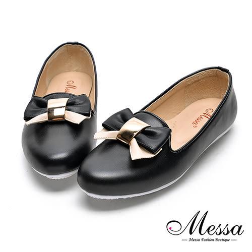 【Messa米莎專櫃女鞋】MIT蝴蝶綁帶女孩內真皮平底包鞋-黑色