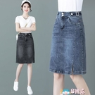 開叉牛仔半身裙女高腰2021年新款夏季寬鬆顯瘦百搭a字包臀中長裙 8號店