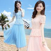 短袖蕾絲修身顯瘦度假沙灘中長網紗連衣裙兩件套裝夏季新款 QQ1922『樂愛居家館』