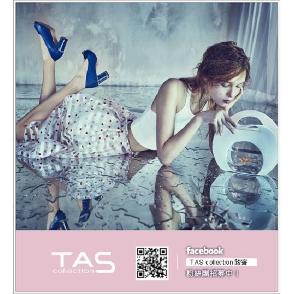 TAS  透膚格網水鑽滾邊夾腳楔型涼鞋-希臘白