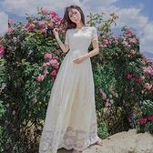 長洋裝 波西米亞風-優雅蕾絲刺繡唯美女連身裙2色73mw5[巴黎精品]