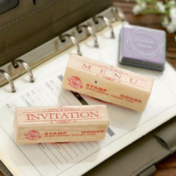 【BlueCat】復古餐廳英文邀請菜單木質印章