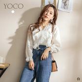 東京著衣【YOCO】氣質小清新蕾絲鏤空V領荷葉邊上衣(191649)