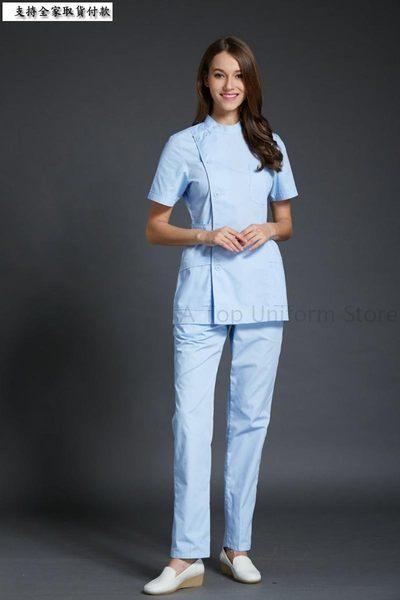 小熊居家Feast-菲斯特】口腔醫院牙科診所女醫生護士短袖立領收腰工作服 女護士服特價
