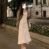 吊帶 吊帶連衣裙女早春新款修身顯瘦白色抽繩高級感氣質荷葉邊裙子