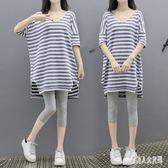 時尚孕婦套裝 夏款韓版休閒寬鬆條紋短袖上衣七分褲休閒套裝  yu4010『俏美人大尺碼』