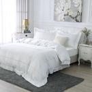 床包被套組 四件式雙人兩用被床包組 300織 純色刺繡 簡約白/美國棉授權品牌[鴻宇]台灣製2101